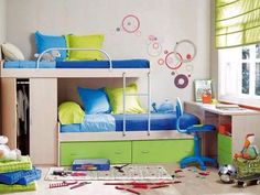 Kid's room--love the blue, green white and yellow color palette.