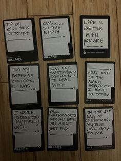 Hilarious and creative ideas for blank cards in cards of humanity game or DIY your own deck of cards against humanity