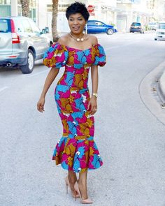 We love how designers have been creative with old styles and revamped them into new looks that are to love. There are so many African print styles out there but… African Print Dresses, African Print Fashion, African Fashion Dresses, African Attire, African Wear, African Women, African Dress, Fashion Prints, Fashion Outfits
