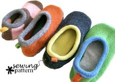 Slippers from felted sweaters - oh my, how adorable.