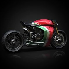 Never been a fan of these colours but kinda works? Ducati Corse Panigale 1199 Cafe Racer by Ziggy Moto.