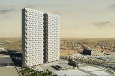 何百もの格納可能な傘を超高層ビルにつけて太陽光を遮るプロジェクト - GIGAZINE