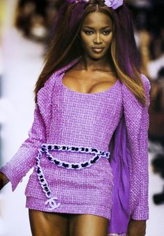 90s fashion Chanel runway show, Naomi Campbell ROCKIN hot purple signature label tweed in a mini-dress version