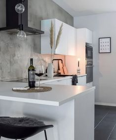 modern kitchen whte and black apartment interior and decor