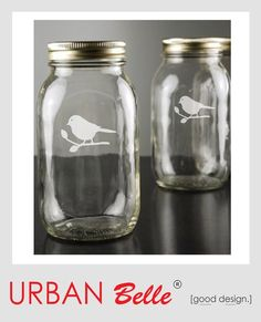 mason jars with birds