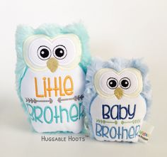 Stuffed Owl Sibling Set - Little Sister Baby Sister Gift - Stuffed Animal - Sibling Birthday - Personalized Owl - Kawaii Plush - New Sister by TheHuggableHoots on Etsy Baby Gift Sets, Baby Boy Gifts, Baby Shower Gifts, New Sibling Gifts, Sister Gifts, Stuffed Owl, Owl Pet, Kawaii Plush, Baby Sister