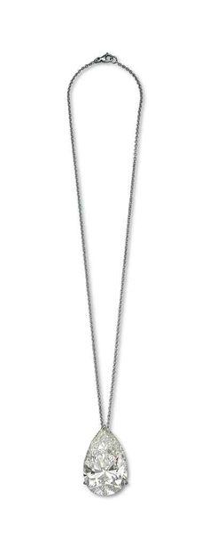 A pear-shaped diamond pendant #christiesjewels