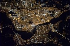 The brilliant lights of Montreal at night from the International Space Station. (Twitter/cmdr_hadfield)