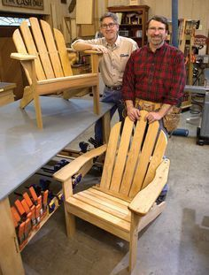 chairs - Norm Abram's Adirondack Chair Plans Build A Comfy Spot to Find Restful Respite Popular Woodworking Magazine Diy Furniture Plans, Woodworking Furniture, Pallet Furniture, Rustic Furniture, Modern Furniture, Furniture Projects, Outdoor Furniture, Woodworking Nightstand, Woodworking Accessories