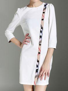 8f78d574ded Elegant 3 4 Sleeve Sheath Date Work Paneled Midi Dress Simple Dress Styles