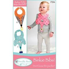 Vanilla House, P206, Binkie Bibs, Pacifier Holder, Sewing Pattern