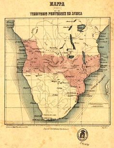 """Map of Portuguese claimed territories in Southern Africa (""""The Pink Map"""") - late 19th century"""
