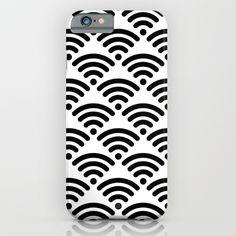 WiFi Pattern Black on White iPhone & iPod Case