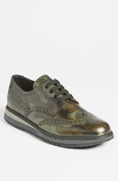 Prada Camo Wingtip Sneaker  Nordstrom  #Menswear Like our FB page https://www.facebook.com/effstyle