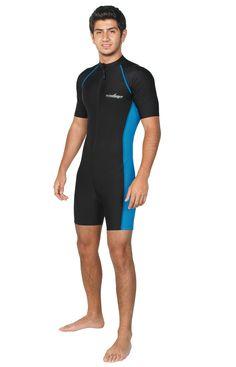 d1059e9f089 Men Sun Protective Sunsuit Short Sleeves UPF50+ Black Blue (Chlorine  Resistant) - EcoStinger Full
