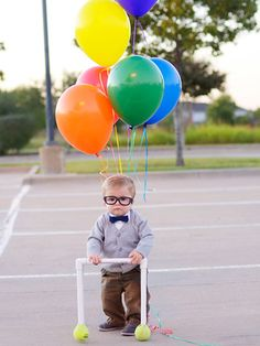 10 Awesome DIY Kids' Halloween Costumes - Carl, UP. Give your kid some balloons, glasses, and a PVC pipe walker, and you're good to go.