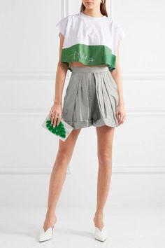 Vika Gazinskaya - Pleated Cotton Shorts - Light gray - FR44
