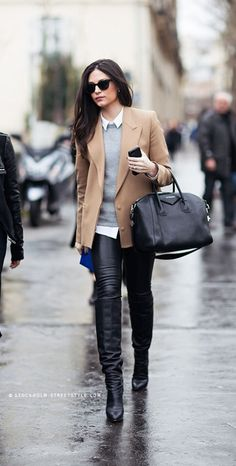 beige coat | white shirt | grey sweater | black leather trousers