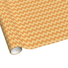 Wide Stripe Gold and Tan Chevron Wrapping Paper