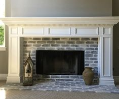 """Old Chicago Grey Thin Brick tiles """"spooky"""" discount – farmhouse fireplace tile Painted Brick Fireplaces, Wooden Fireplace, Fireplace Update, Brick Fireplace Makeover, Shiplap Fireplace, White Fireplace, Farmhouse Fireplace, Fireplace Remodel, Fireplace Design"""