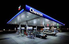 Chevron gas station at night
