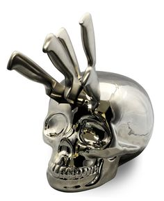 If you have a taste for the macabre then this Skull Kitchen Knife Block is the perfect addition to your home! Available To Buy Now From Prezzybox at Skull Kitchen Knife Block In Stock With Fast, UK Delivery. Skull Decor, Skull Art, Kitchen Knives, Kitchen Gadgets, Kitchen Utensils, Goth Home, Knife Holder, Decoration Inspiration, Decor Ideas