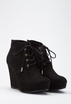 Lace-Up Wedge Booties - NEW ARRIVALS - SHOES - 2055878498 - Forever 21 UK