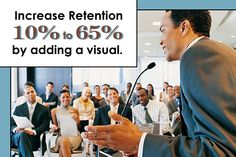To increase retention from 10% to 65%, add a visual. http://www.diresta.com/in-the-media/top-ten-lists/top-ten-mistakes-when-using-visual-aids/