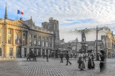 "Place Royale avant 1910 - © www.vincentzenon.com Time traveling ""re"" photography Time traveling imagery using photo-reconduction of old shots, mainly authentic postcards. Setting before and after WW1 but avoiding it. Illustrating the city's metamorphosis from Victorian time to nowadays."