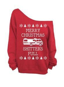 Merry Christmas SHITTERS Full Red Ugly Christmas Sweater Slouchy Crew | eBay