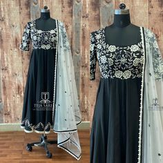 TS-DS- 688.Available. Stunning black color floor length dress with floral design hand embroidery work on yoke. For orders/queriesCall/ what's app on8341382382 orMail tejasarees@yahoo.com 14 December 2019 Designer Gowns, Indian Designer Wear, Choli Dress, Saree Blouse, Kurta Designs, Dress Designs, Simple Dresses, Formal Dresses, Floor Length Dresses
