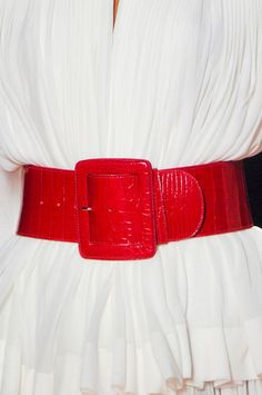 Jean Paul Gaultier Spring white dress and red belt