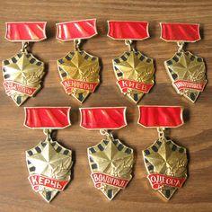 Soviet Cities Heroes, Soviet Badges, Rare Military Badge, Military Memorabilia, Uniform Pin, Wwii Pin, World War Two