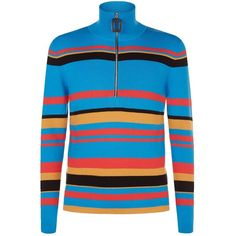 J.W.Anderson Striped Wool Zip Neck Jumper ($460) ❤ liked on Polyvore featuring men's fashion, men's clothing, men's sweaters, mens striped sweater, mens slim fit sweater, mens full zip wool sweater, mens chunky sweater and mens wool sweaters