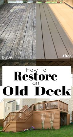 How To Restore an Old Deck Restore your old deck in a weekend! This diy deck idea for resurfacing a neglected deck will help your chosen deck stain color bond well and create a surface perfect for outdoor entertaining. Deck Stain Colors, Deck Colors, Behr Deck Over Colors, Fresco, Deck Makeover, Backyard Makeover, Raised Deck, Cedar Deck, Under Decks