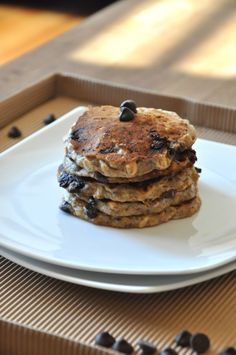 """""""In short, this site embodies everything I adore about food – its simplicity, its beauty, its delicious taste, and its joy-giving nature."""" Minimalist Baker Chocolate Chip Oatmeal Cookie Pancakes"""