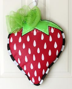 Strawberry Burlap Door Hanger Decoration by MustLoveArtStudio, $35.00