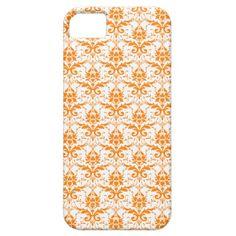 Orange and White Damask Pattern iPhone 5 Case