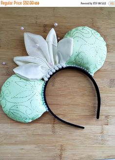 Tiana Minnie Ears, Princess and the Frog Mouse Ears, Disney Ears, Disney Minnie Ears, Princess Tiana