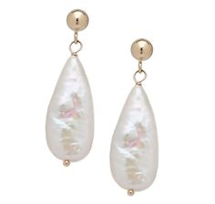 14K Gold Freshwater Pearl Drop Earrings. At theshopping channel.com by Pearl Lustre.  Free Shipping today. $79.99