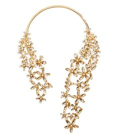 Gold metal open collar necklace with rhinestone floral designs. | Party in H&M