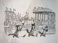 """""""The Three Foxes"""" by A.A. Milne, illustration by E.H. Shepard in When We Were Very Young."""