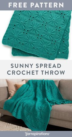 """Free Sunny Spread Throw crochet pattern using Red Heart Super Saver yarn. Create individual motifs that join together to complete this cheerful crochet throw that's fresh and inspired. This sunny 52"""""""" square spread creates an interesting focal point in the bedroom, living room, Zen room and more. #Yarnspirations #FreeCrochetPattern #CrochetAfghan #CrochetThrow #CrochetBlanket #CrochetMotif #RedHeartYarn #RedHeartSuperSaver Knit Or Crochet, Crochet Motif, Easy Crochet, Zen Room, Crochet Home Decor, Super Saver, Red Heart Yarn, Afghan Crochet Patterns, Yarn Needle"""
