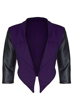 online shopping for Oops Outlet Women's PVC Sleeve Open Front Cropped Blazer from top store. See new offer for Oops Outlet Women's PVC Sleeve Open Front Cropped Blazer Plus Size Blazer, Purple Blazers, Cropped Blazer, Lady, Coat, My Style, Sleeves, Outfits, Clothes