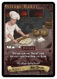 """""""Village Baker"""" card from Tavern Masters fantasy card game by Dann Kriss. Art by Galen Ihlenfeldt. Dann Kriss Games LLC ® All Rights Reserved Card Games, Masters, Fantasy, Cards, Movie Posters, Master's Degree, Film Poster, Fantasy Books, Fantasia"""