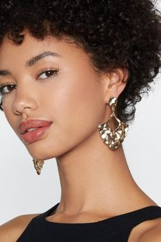 3779473b0b16 Gold Hammered Metal Drop Earrings