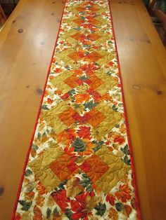 Quilted Table Runner Autumn Leaves Fall Table by PatchworkMountain
