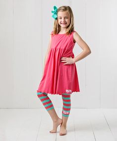 Look at this RuffleGirl Coral & Mint Capri Leggings & Bow Clip - Infant, Toddler & Girls on #zulily today!