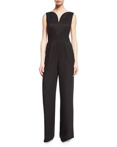 Eve Sleeveless Deep-V Jumpsuit, Black