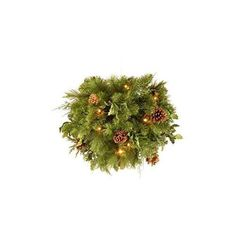Santa's Little Helper Collection 36 inch Decorative Collection Juniper Mix Pine Wreath with 150 Warm White LED Lights